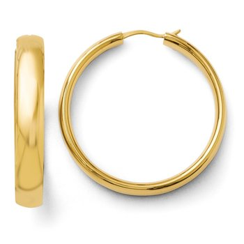 Leslie's Sterling Silver Gold-plated 6mm Half Round Tube Earrings