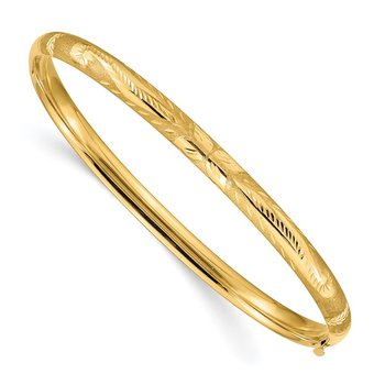 14k 3/16 Florentine Engraved Hinged Bangle Bracelet