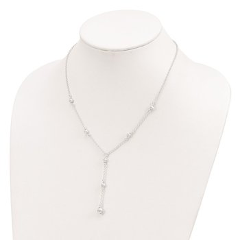 Sterling Silver Polished Diamond-cut Fancy Drop Necklace