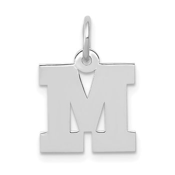 14KW Small Block Letter M Initial Charm