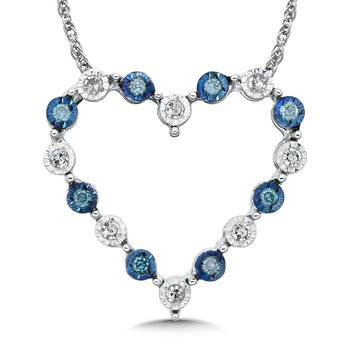 Blue and White Floating Diamond 10k Heart Pendant (3/8ct. tw.)