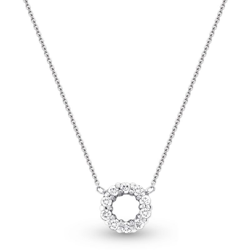 KC Designs Diamond Circle Necklace in 14k White Gold with 10 Diamonds weighing .26ct tw.
