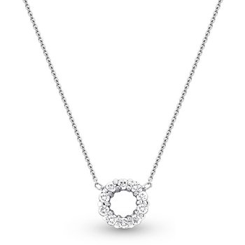 Diamond Circle Necklace in 14k White Gold with 10 Diamonds weighing .26ct tw.