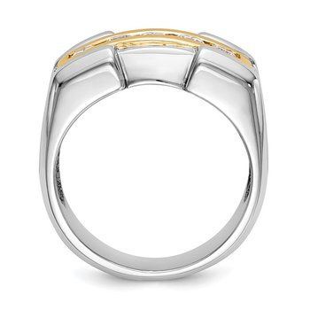 14k Two Tone True Origin Lab Grown Dia VS/SI D,E,F Men's Band