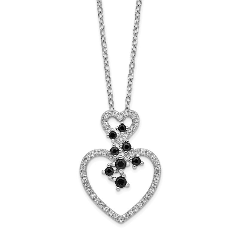 Quality Gold Sterling Silver Rhodium-plated CZ & Spinel 2-Heart Necklace