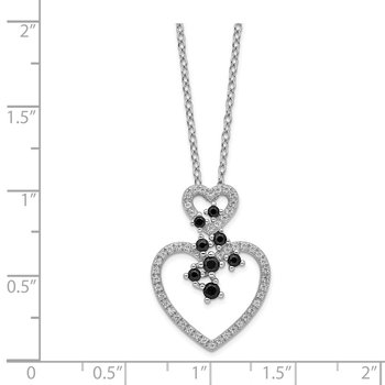 Sterling Silver Rhodium-plated CZ & Spinel 2-Heart Necklace