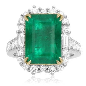 Gold Emerald & Diamond Ring