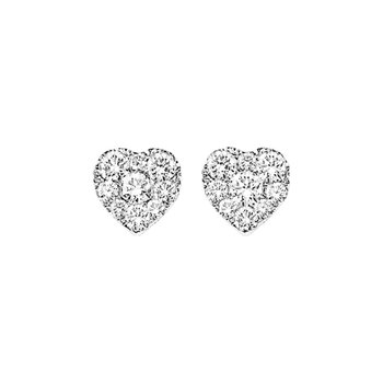 14K Diamond Earrings 1/4 ctw Heart Shape