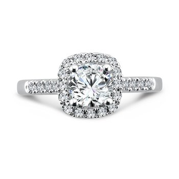 Classic Elegance Collection Diamond Halo Engagement Ring with Side Stones in 14K White Gold with Platinum Head (3/4ct. tw.)