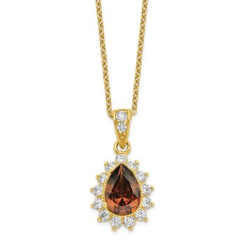 Cheryl M Sterling Silver Gold Plated & Brown Brilliant-cut CZ Necklace