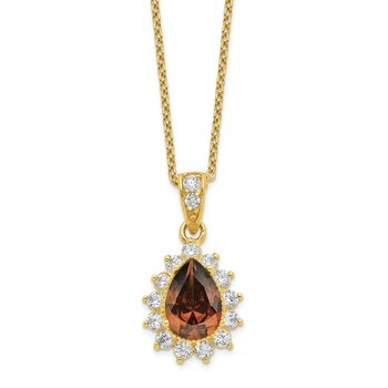 Cheryl M Sterling Silver Gold Plated & Teardrop Brown CZ 18.5in Necklace