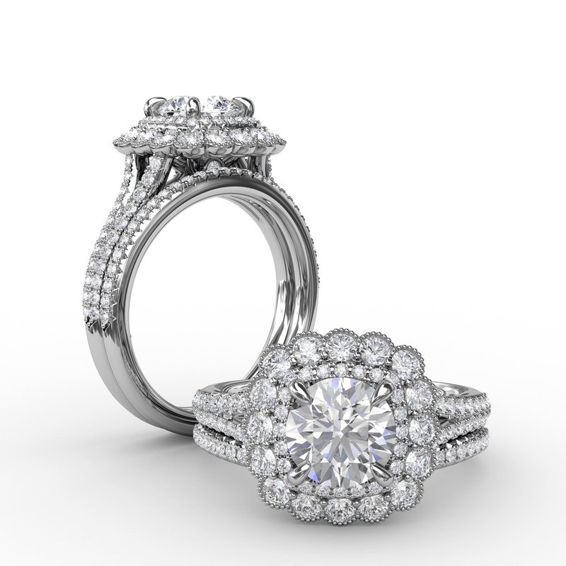Fana Vintage Cushion-Shaped Double Halo Engagement Ring With Split Shank
