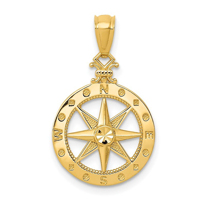 Quality Gold 14k Diamond-cut Polished Compass Pendant