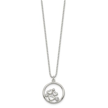 Sterling Silver Polished CZ Heart Necklace