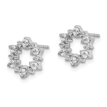 14k White Gold Diamond Fancy Sunburst Earrings