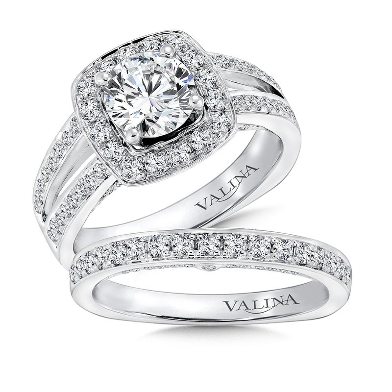 Valina Cushion shape halo mounting .56 ct. tw., 1 ct. round center.