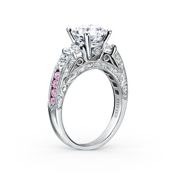 Three Stone Pink Sapphire Diamond Engagement Ring
