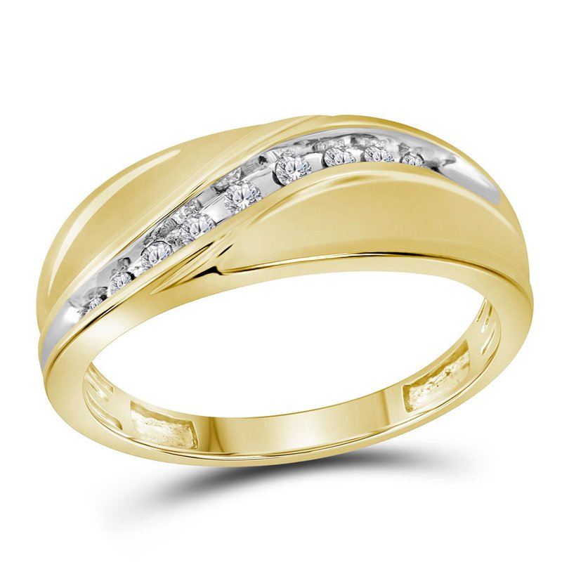 Kingdom Treasures 10kt Yellow Gold Mens Round Diamond Single Row Band Ring 1/8 Cttw