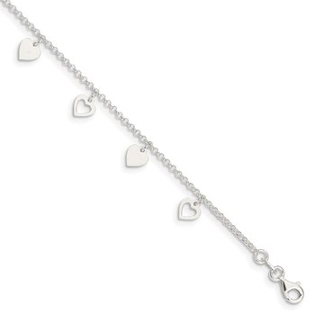 Sterling Silver Polished Hearts 9in Plus 1in Ext. Anklet