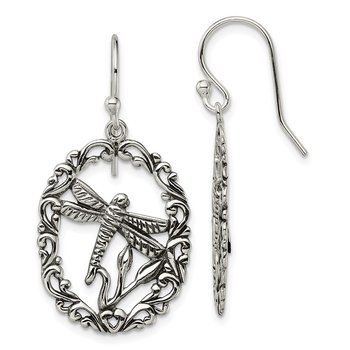Sterling Silver Antiqued Dragonfly Dangle Shepherds Hook Earrings