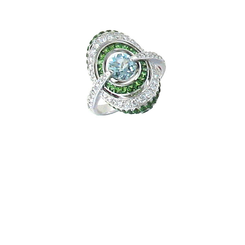 Roberto Coin 18Kt Gold Ring With Diamonds, Aquamarine And Green Garnet