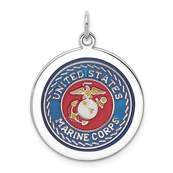 Sterling Silver Rhodium-plated US Marine Corps Disc