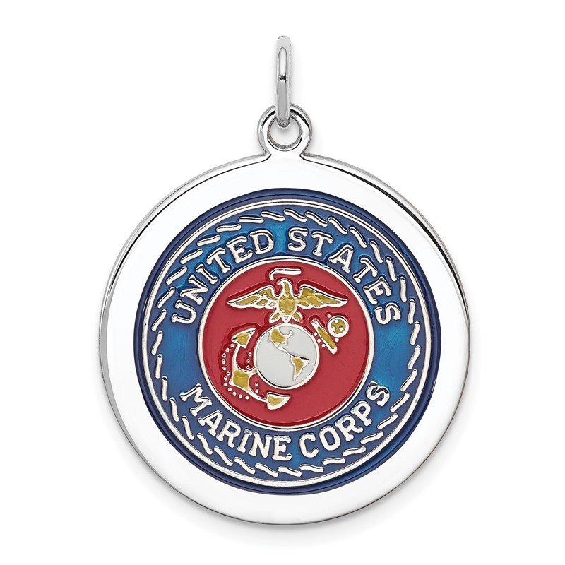 Quality Gold Sterling Silver Rhodium-plated US Marine Corps Disc