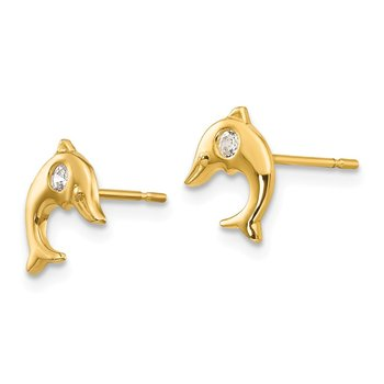 14k Madi K CZ Children's Dolphin Post Earrings