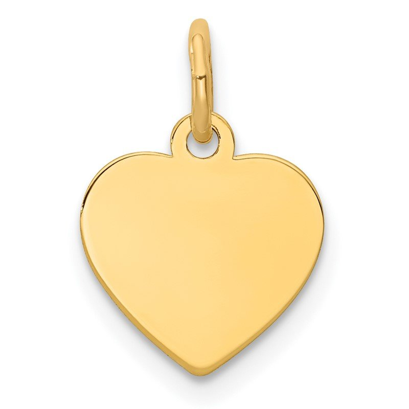 Quality Gold 14k Plain .018 Gauge Engravable Heart Disc Charm