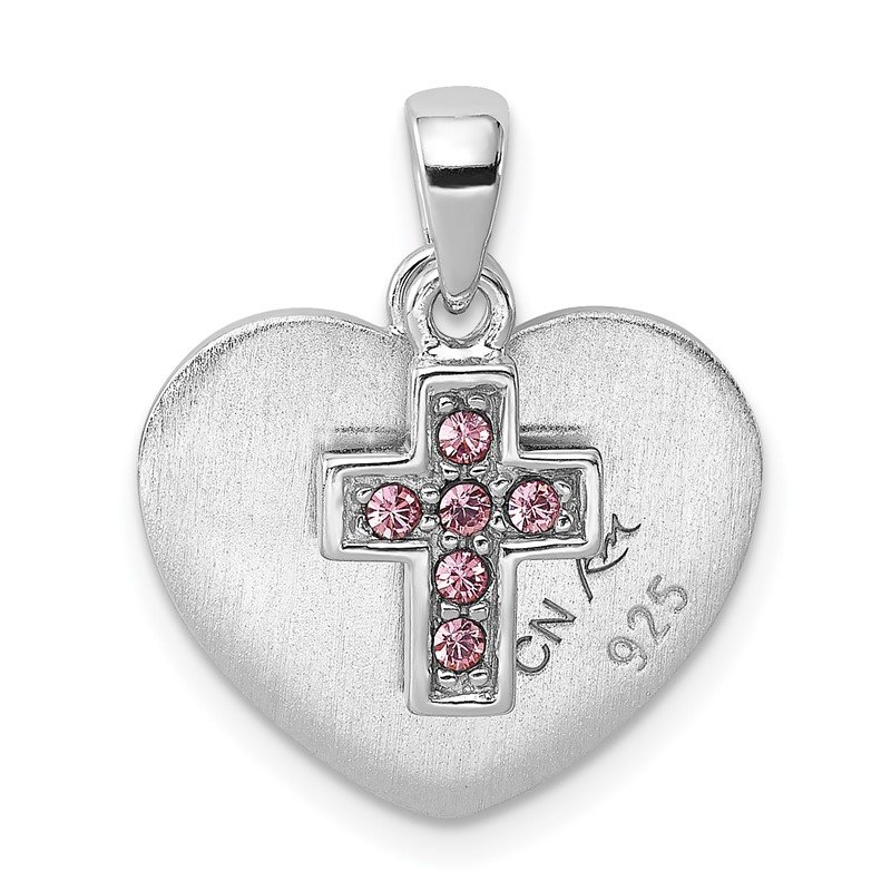 Quality Gold Sterling Silver Rhodium-plated Enameled & CZ Heart Cross Charm