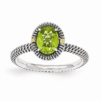 Sterling Silver w/14k Oval Peridot Ring