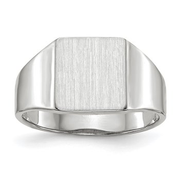 14k White Gold 9.5x8.5mm Closed Back Signet Ring