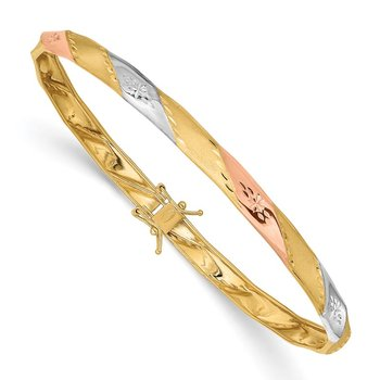 14K w/White and Rose Rhodium Polished Satin D/C Flex Bangle