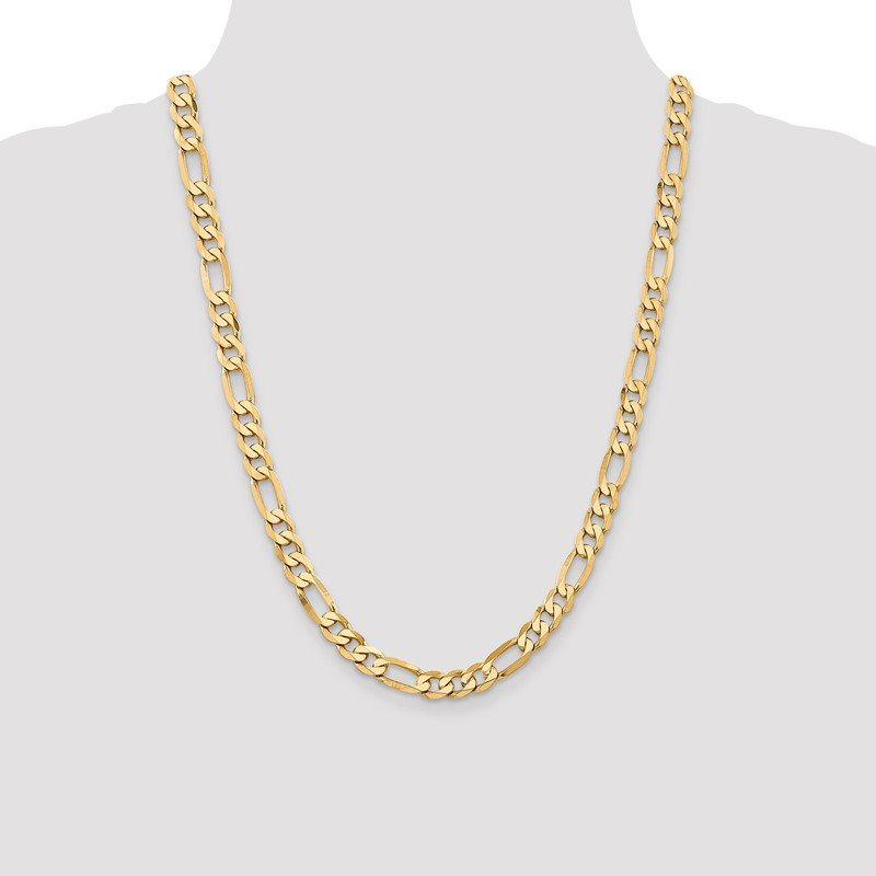 Quality Gold 14k 7.5mm Flat Figaro Chain