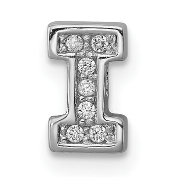 Sterling Silver Rhodium-plated CZ Letter I Initial Slide Charm