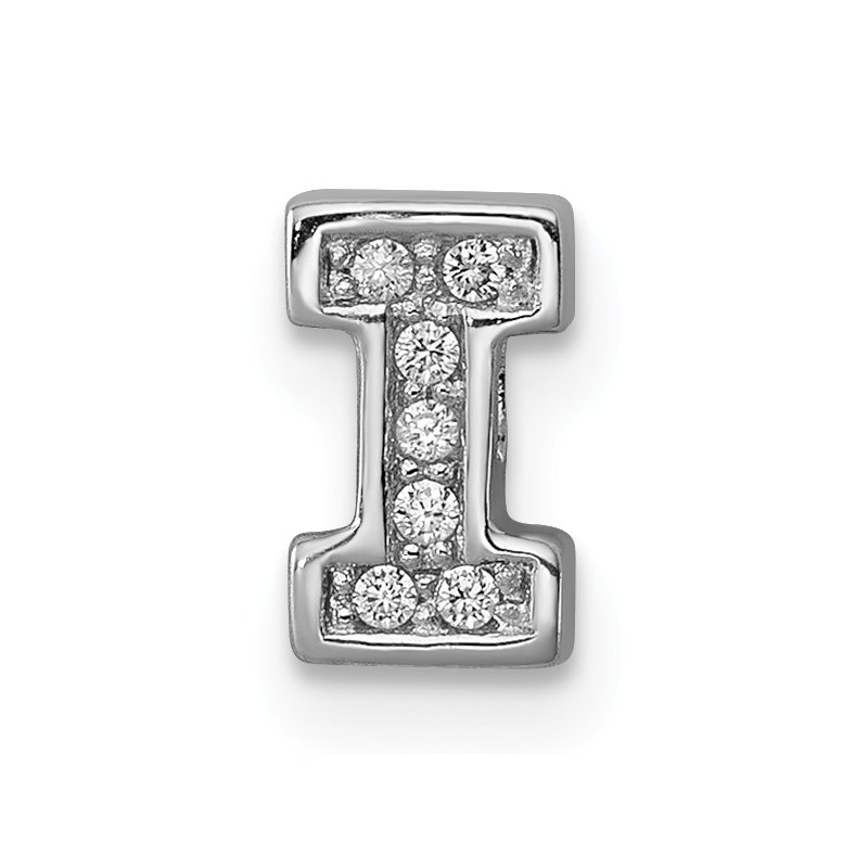 Quality Gold Sterling Silver Rhodium-plated CZ Letter I Initial Slide Charm