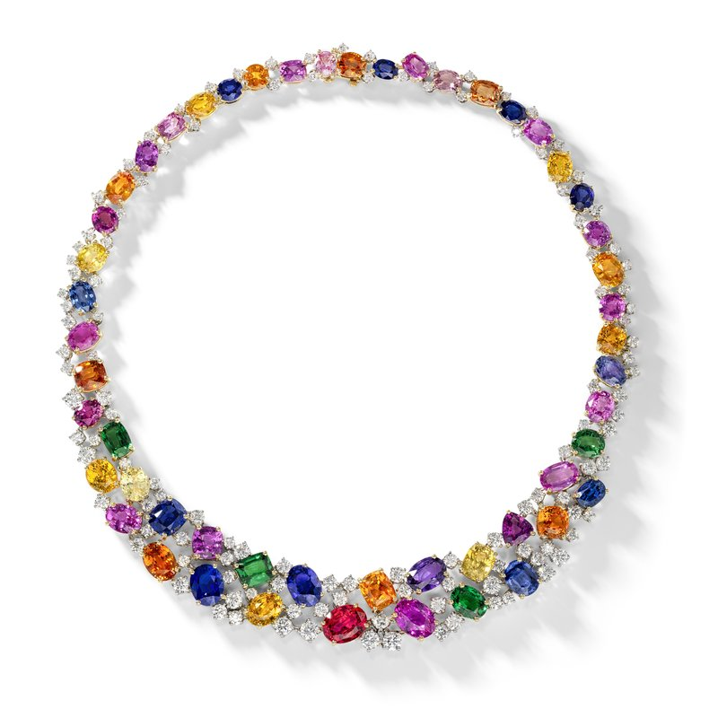 Oscar Heyman 18kt Gold & Platinum Multicolor Gemstone Necklace