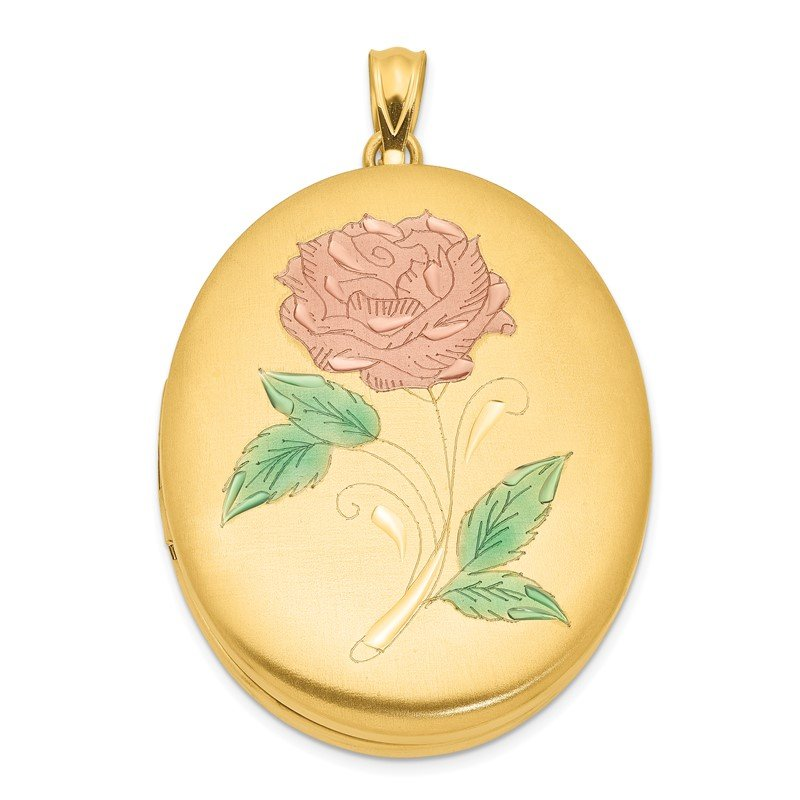 Quality Gold 1/20 Gold Filled 34mm Enameled Flower Oval Locket