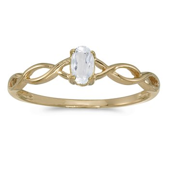 14k Yellow Gold Oval White Topaz Ring