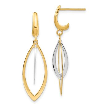 14K Two-Tone Polished Post Dangle Earrings