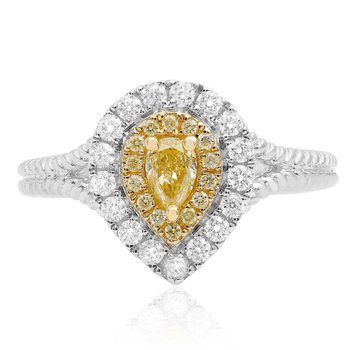 Braided Shank Yellow Diamond Ring