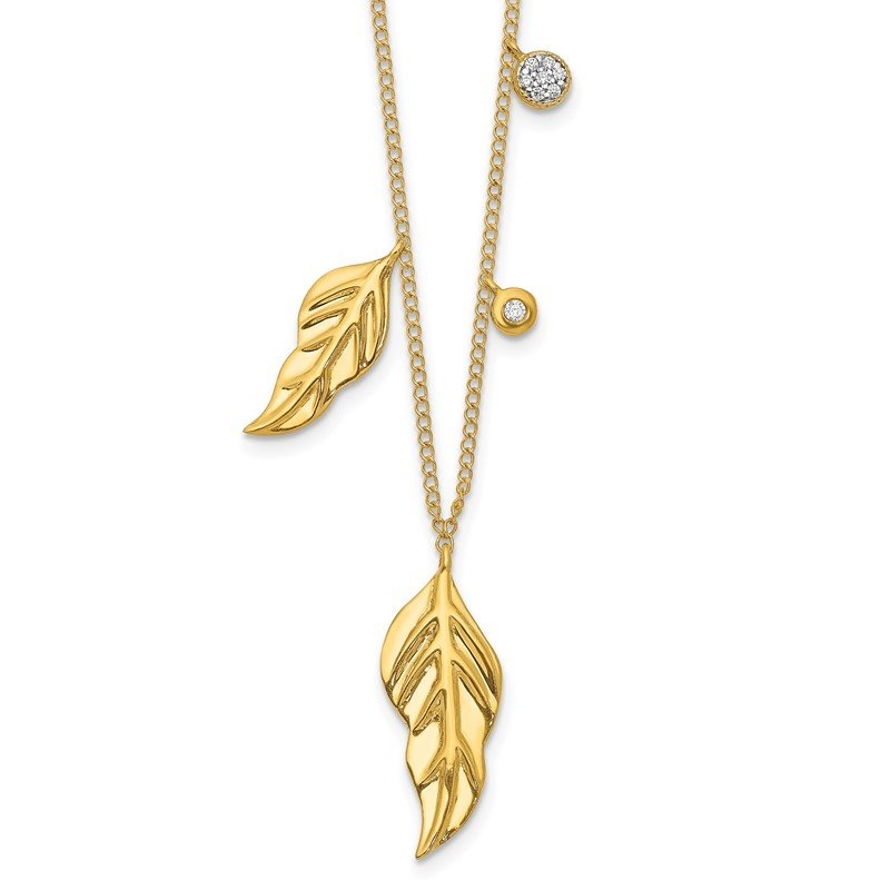 Quality Gold 14k Diamond and Feathers 16.5 inch Necklace