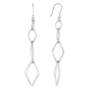 Silver Four Station Diamond Drop Earring