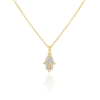 14k Gold and Diamond Mini Hamsa Necklace