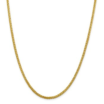 14k 2.5mm Semi-solid D/C Wheat Chain