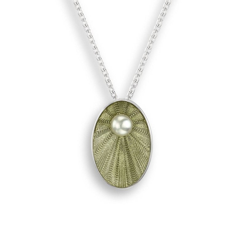 Nicole Barr Designs Green Oval Necklace.Sterling Silver-Freshwater Pearl