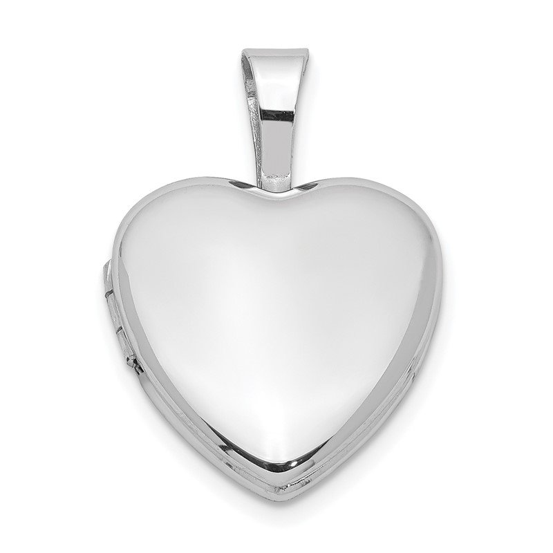 Quality Gold Sterling Silver Rhodium-plated Polished 12mm Heart Locket