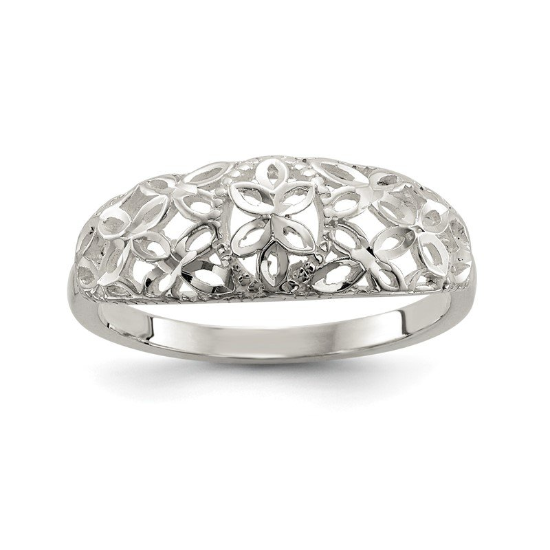 Quality Gold Sterling Silver Diamond Cut Filigree Ring