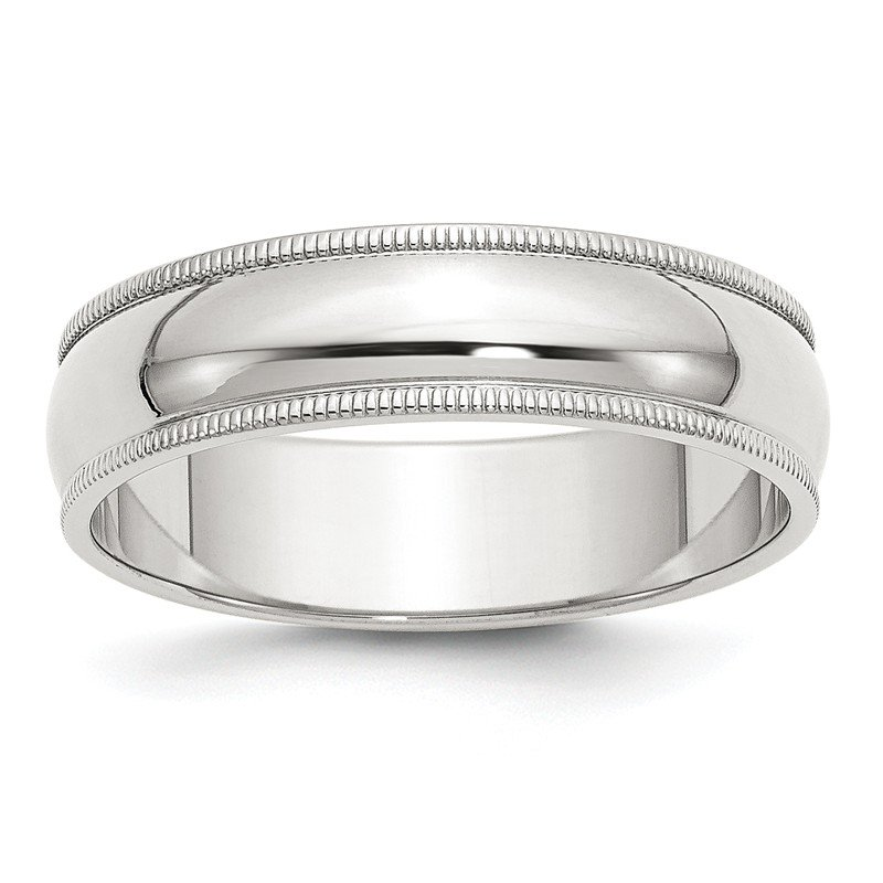 Quality Gold Sterling Silver 6mm Half Round Milgrain Band