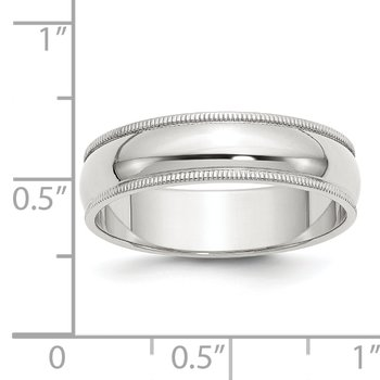 Sterling Silver 6mm Half Round Milgrain Band